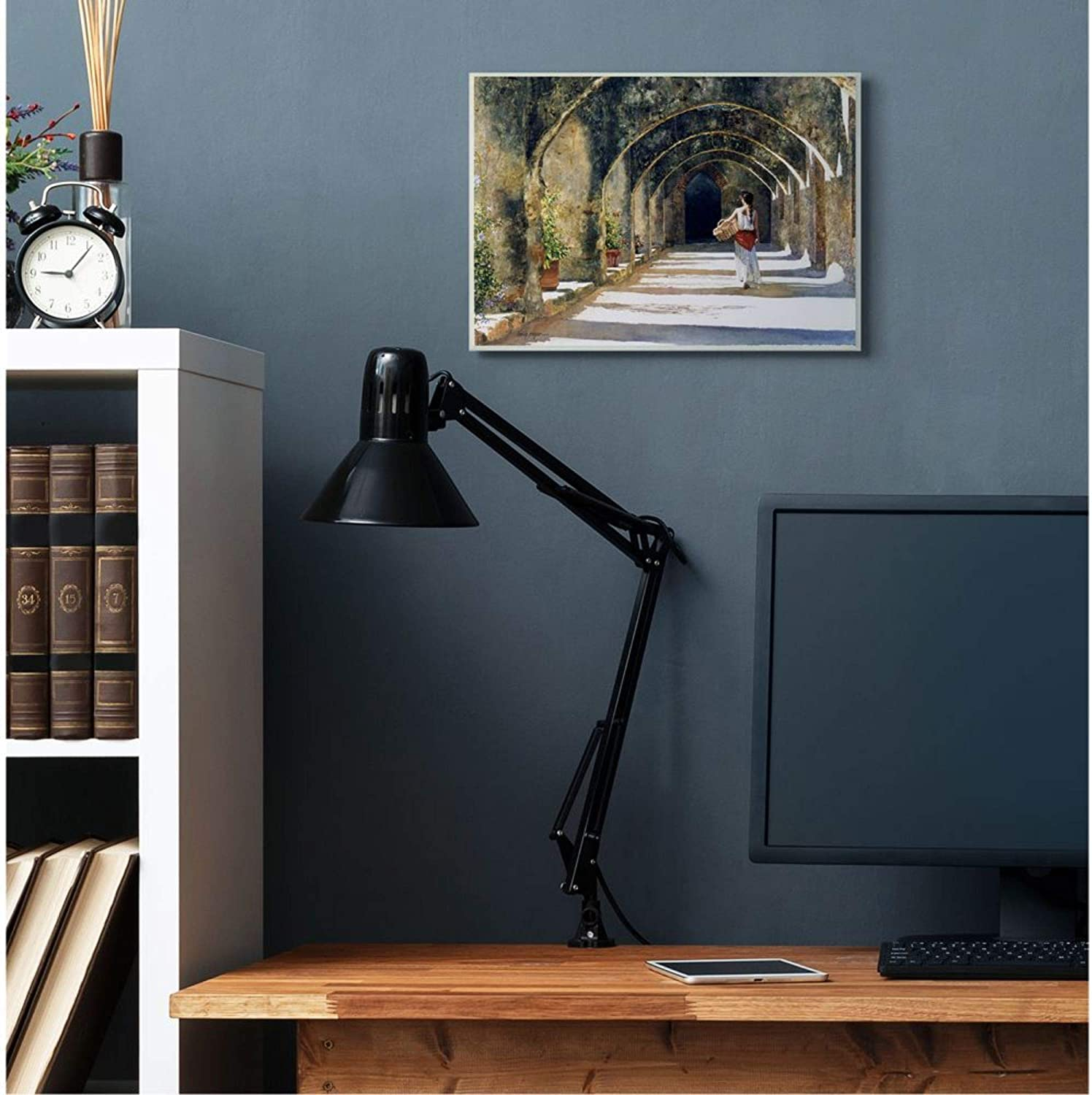 16 x 20 Stupell Industries Woman with Basket Walking Under Classic Arches Heide Presse Black Framed Wall Art