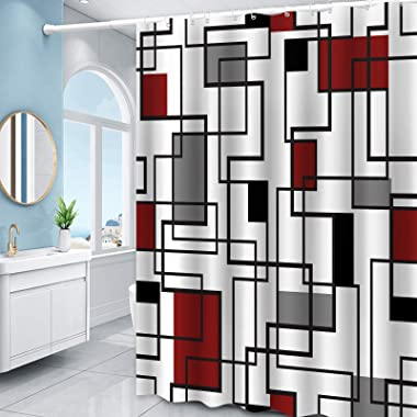 Red Geometric Shower Curtain Black Red Gray Checkered for Mordern Bathroom Shower Curtains Fabric Waterproof, Multicolor, 72&