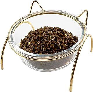 BUJINYUN 猫 食器 猫 えさ 皿 フードボウルスタンドセット 猫柄 陶器 えさ入れ ごはん皿 お水入れ かわいい ト食器台 猫 犬用 (小型犬)