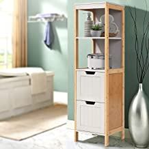 Artiss Bathroom Cabinet Bamboo Wooden Storage Unit Laundry Cupboard Toilet Tallboy w/ 2 Deep Drawers & 2 Tiers, Free Stand...