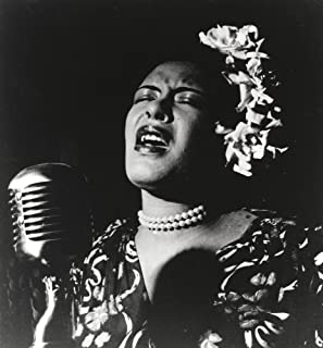 Billie Holiday singing in Black Dress with Flower on Head Portrait Photo Print (8 x 10)