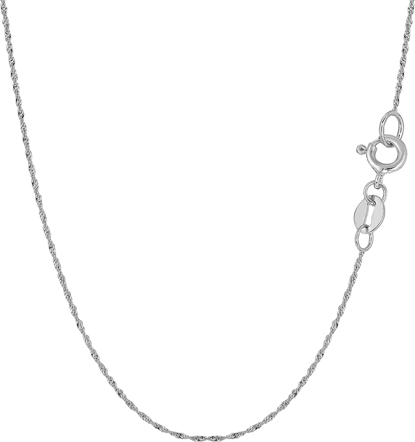 14k White Gold Singapore Chain Necklace, 0.8mm
