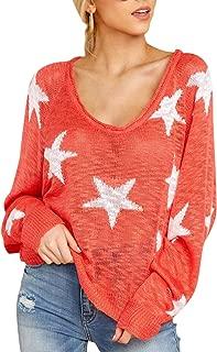 KAKALOT Women's Boat V Neck Long Sleeve Pullover Star Knit Sweater