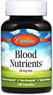 Carlson - Blood Nutrients, 28 mg Iron, Blood Development, Iron Absorption & Optimal Wellness, 180 Capsules