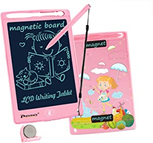 """PROGRACE LCD Writing Tablet for Kids with Extra Battery 8.5"""" Learning Writing Pad with Magnetic Smart Doodle Drawing Board for Girls Home School Office Portable Digital Handwriting Graffiti board-Pink"""