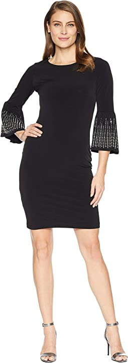 Embellished Bell Sleeve Jersey Sheath Dress