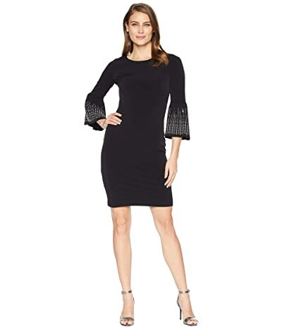 Calvin Klein Embellished Bell Sleeve Jersey Sheath Dress (Black) Women