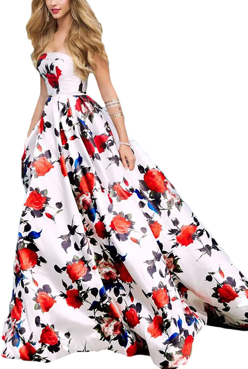 Ri Yun Sexy Strapless Princess Floral Prom Dresses Long 2018 Evening Gowns Formal Party Dresses for Women Ball Gown