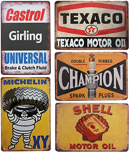 Pack Of 5 Pcs Retro Vintage Tin Signs Shell Michelin Texaco Champion Castrol Metal Posters For Garage Man Cave Bar 8x12 Inch 20x30cm