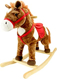 Animal Adventure | Real Wood Ride-On Plush Rocker | Chestnut Horse | Perfect for Ages 3+