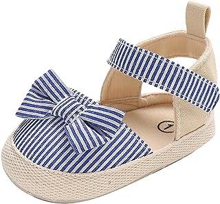 Zapatos Bebe Niña Verano Primeros Pasos para Recién Nacido 0 3 6 9 12 18 Meses Sandalias de Suela Blanda con Loop Fastener y Lazo Rayado