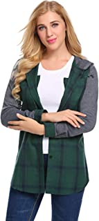 Women's Classic Plaid Flannel Shirt Long Sleeve Button Down Checked Hoodie Sweatshirt S-XXL