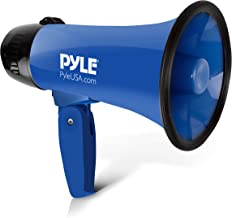 Pyle PMP21BL Portable Megaphone Speaker Siren Bullhorn - Compact and Battery Operated with 20 Watt Power, Microphone, 2 Modes, PA Sound and Foldable Handle for Cheerleading and Police Use, Blue