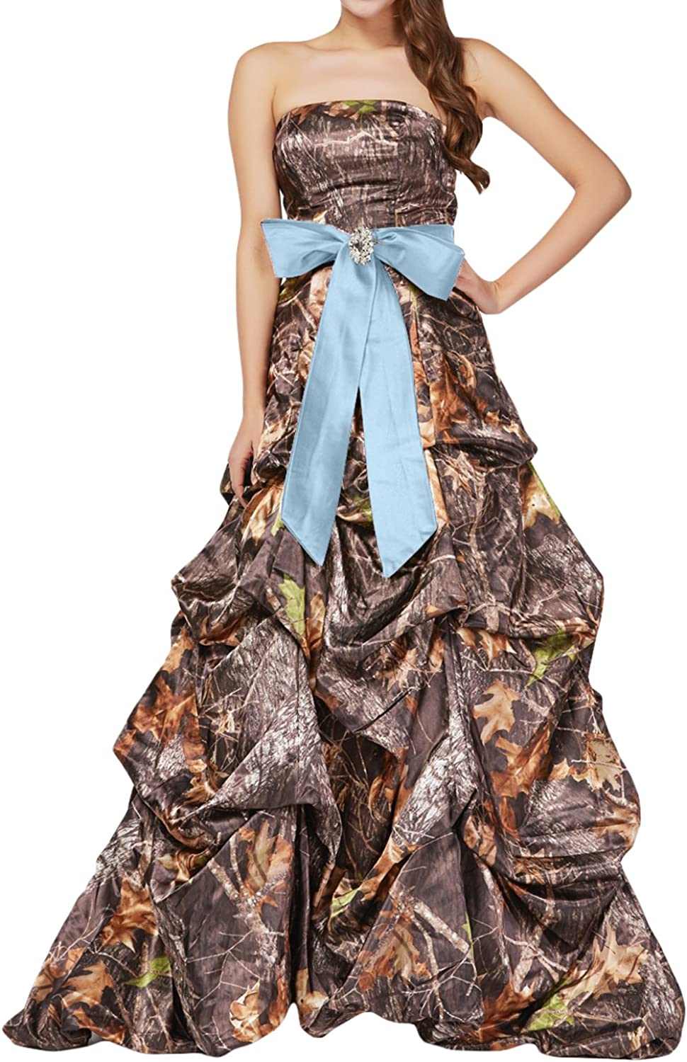 QY Bride Ruffled Quinceanera Ball Dresses Camo Prom Gowns Long