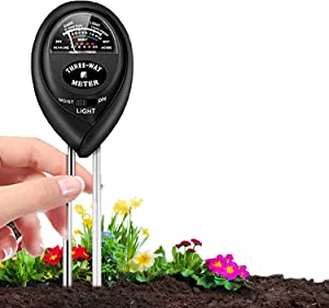 Soil pH Meter, 3-in-1 Soil Moisture/Light/pH Tester and Humidity Meter for Gardening, Lawn, Farm, Indoor & Outdoor, Soil Moisture Meter(No Battery Needed)