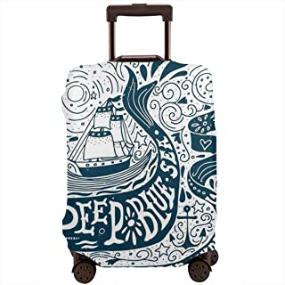 Travel Luggage Cover,Classic Art With Ship Whale Lettering Deep Blue Sea Never Stop Exploring Suitcase Protector