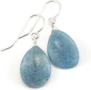 Lapis Earrings Light Denim Lapis Lazuli Curved Teardrop Petal Shape Drops