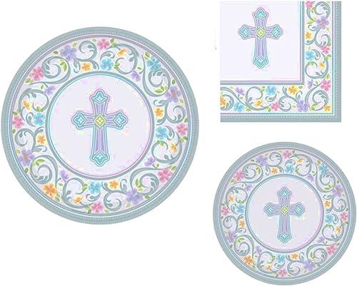 disfrutando de sus compras Inspirational Religious Party Supplies for 18 People People People  Dinner Plates, Dessert Plates and Napkins 72 Piece Bundle by CBD  calidad de primera clase