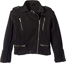 Super Soft Cotton Fleece Moto Jacket w/ Zipper Details (Toddler/Little Kids)