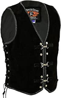 Bikers Gear Australia Men's Motorcycle Harley Style Braided Suede Vest with Clips Black