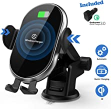 Wireless Car Charger, Hexdeer 10W/7.5W Qi Fast Charging Auto Clamping Car Wireless Charger Mount with QC 3.0 Fast Charger, Dashboard Windshield Air Vent Phone Holder for Smartphones Qi Certified