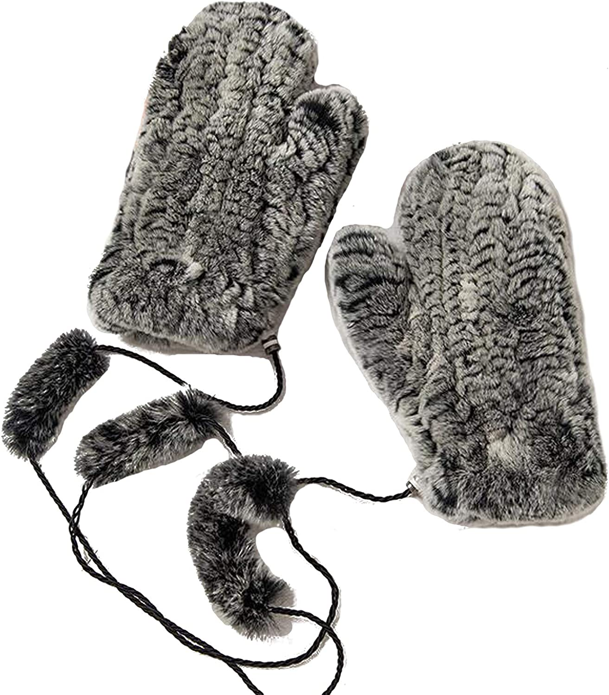 NWSTESLE Women Winter Warm Knit Fingerless Fur Gloves Hand Arm Warmers Mittens wiht fur