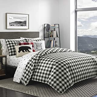 UN 3 Piece Black White Plaid Comforter Full Queen Set, Cabin Themed Bedding Tartan Checkered Pattern Checked Squares Lodge Madras Buffalo Check Classic Cottage Lumberjack, Reversible Cotton