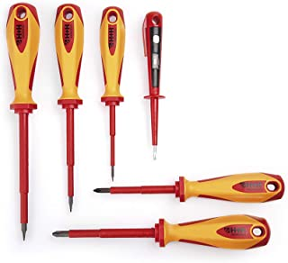 H+H Werkzeug SDSX6 zestaw wkrętaków 6-częściowy wraz z próbnikiem napięcia VDE, Made in Germany, czerwony/żółty