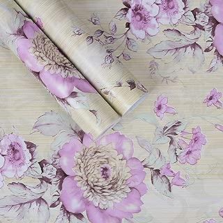 ACCEY 45cm * 10m panel de pared de flores 3Dwallpaper PVC papel de pared autoadhesivo impermeable para interior decorativo-Green_10mx45cm