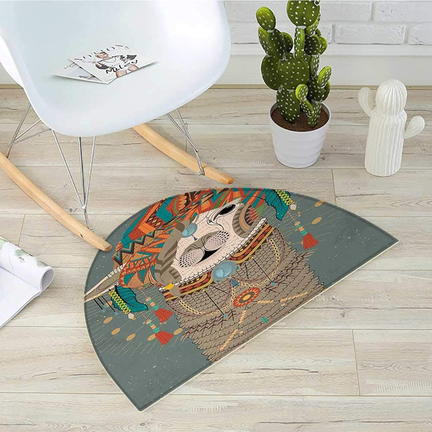 Llama Half Round Door mats colorful Headwear Wearing Llama with Accessories Earrings Necklace Abstract Animal Bathroom Mat H 39.3  xD 59  Multicolor