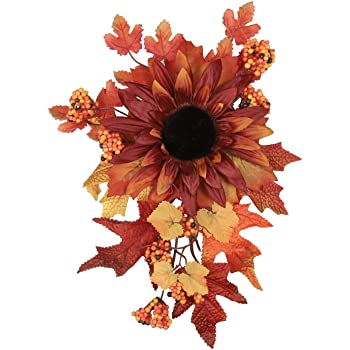 M-ELEGANT Artificial Flowers Fall Autumn Leaves Wall Hanging Flowers Halloween Christmas Greenery Outdoor Indoor Front Door (Wine)