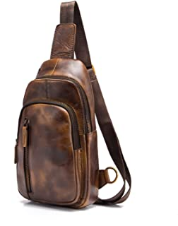 Le'aokuu Men Outdoor Casual Travel Hiking Tea Crossbody Chest Sling Bag Rig One Shoulder Strap Bag Backpack Men Leather (8005 Gold)