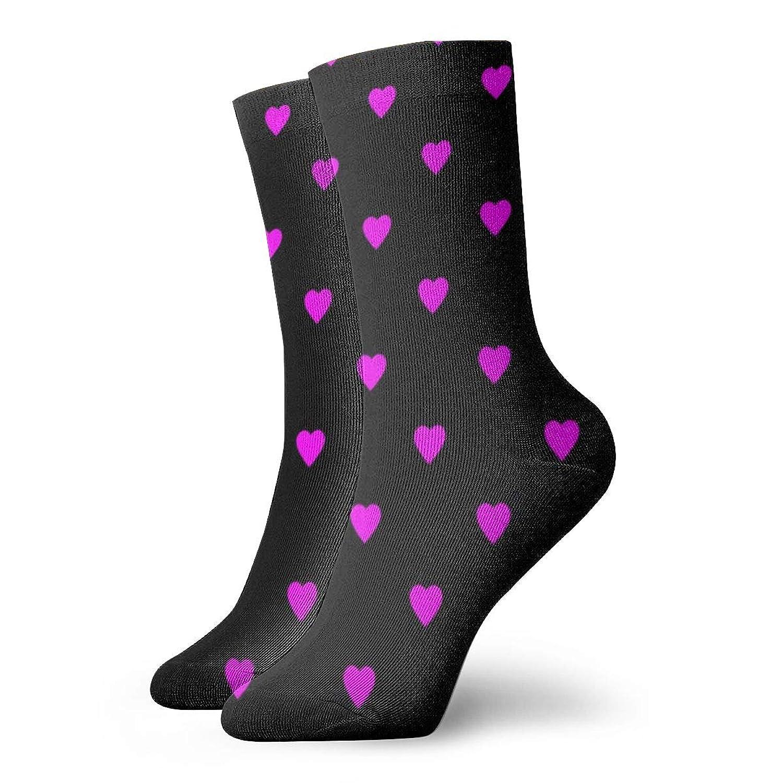 黒のファッショナブルなカラフルなファンキー柄のコットンドレスソックスにピンクのハート11.8インチ