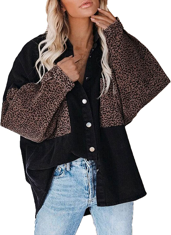 VonVonCo Cardigan Sweaters for Women Casual Leopard Splice Button Long Sleeve Denim Shirt Top Jacket