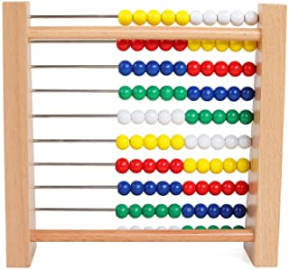 NA Preschool Number Learning Abacus Classic Wooden Toy Developmental Toy Brightly-Colored Wooden Beads 8 Extension Activit...
