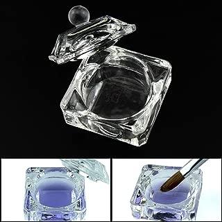 Crystal Clear Acrylic Liquid Powder Glass Dappen Dish Glass Cup w Cap Lid Bowl for Acrylic Nail Art Transparent Kit, HJ-NAPB003