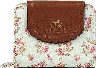 83c87f09b0 Badiya Women s Vintage Cute Floral Zip Mini Wallet Short Design Coin Purse