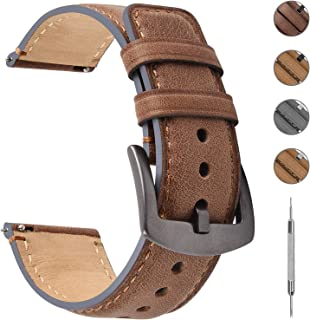 3 Colors Burnished Leather Watch Band 18mm/20mm/22mm, Fullmosa Quick Release Yola Watch Strap with D-shape Buckle for Men Women