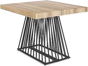 Menzzo Factory Table Extensible, Métal, Bois/Noir, Taille Unique