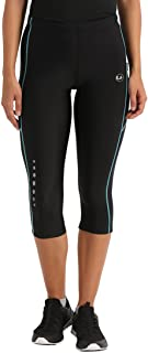 Ultrasport Women's Running Pants Capri with Compression Effect & Quick-Dry-Function, Black/Turquoise, S