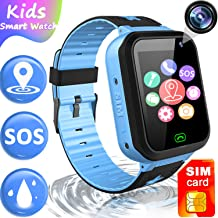 Kids Waterproof Smart Watch[2G SIM Card Included]-GPS Tracker Locator Smartwatch Phone for Boys Girls with SOS Anti-Lost Flashlight Math Game Voice Call Wrist Watch Best Holiday Birthday Gifts (Blue)