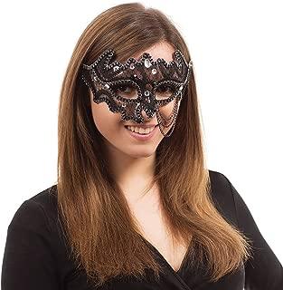 Bristol Novelty EM690 Decorative 3/4 Eye Mask Glasses Frame, Womens, Black, One Size