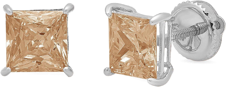 0.94cttw Brilliant Princess Cut VVS1 Ideal Gemstone Solitaire Genuine Brown Champagne CZ Unisex Designer Stud Earrings Solid 14k White Gold Screw Back