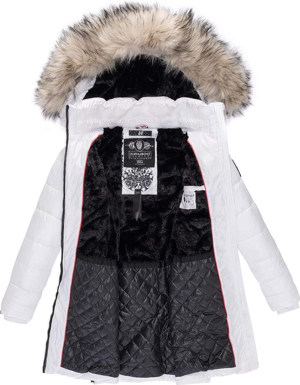 Navahoo Damen Wintermantel Steppmantel mit Abnehmbarer Kunstfellkapuze Nimalaa XS-XXL Weiß