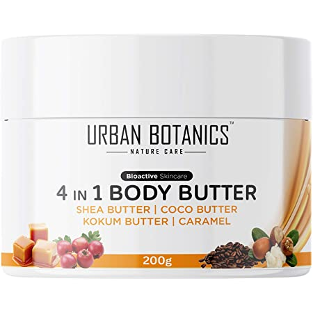 UrbanBotanics® 4 in1 Body Butter For Dry Skin/ Normal Skin/Itchy Skin & Stretch Marks with Shea Butter, Cocoa Butter, Kokum Butter & Caramel - Body Cream For Women & Men, 200g