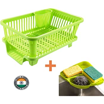 BLOOM HOUSE™ Popular Combo Kitchen Sink Organiser & 3 in 1 Kitchen Sink Dish Rack Drainer Drying Rack Washing Basket with Tray for Kitchen, Dish Rack Organizers, Utensils Tools Cutlery (Green)