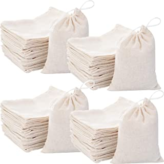 400 Pieces Cotton Muslin Bags Cotton Drawstring Pouch Gift Bags with Drawstring for Party Supplies Daily Use (4 by 3 Inch)