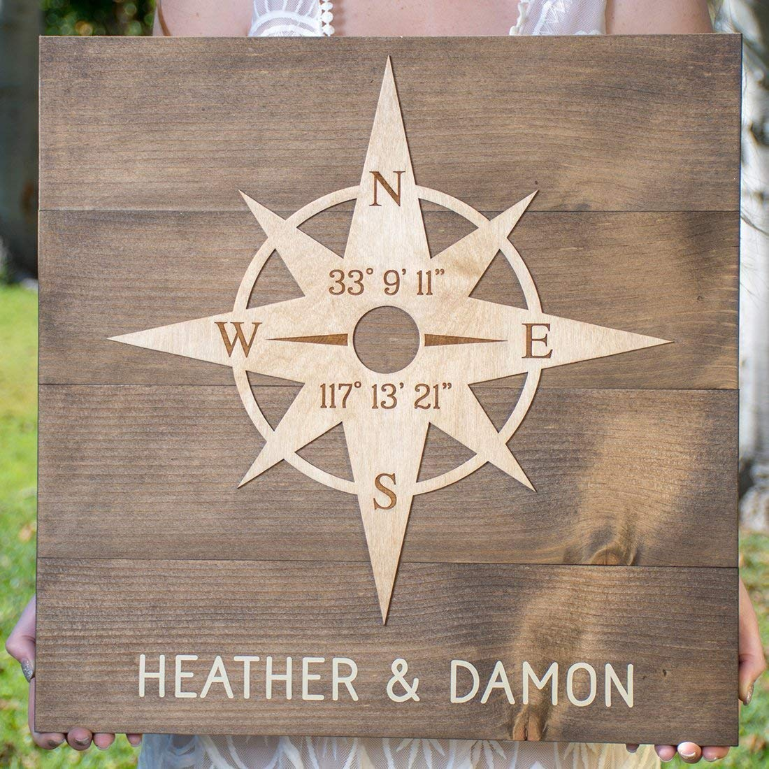 Personalized Wood Sign with Compass Rose Cheap shop Lo and Names Latitude -