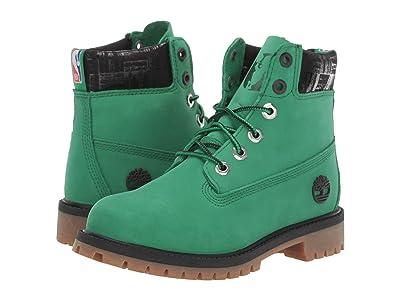 Timberland Kids 6 Premium Waterproof Boot Boston Celtics (Big Kid) (Medium Green Nubuck) Kids Shoes