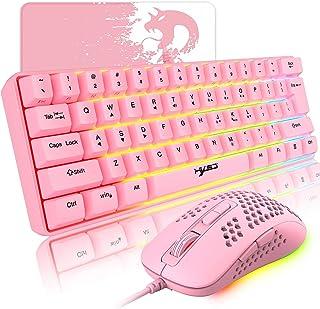 السلكية وردي لوحة مفاتيح الألعاب والفأرة كومبو، 61 مفاتيح مدمجة RGB الخلفية الميكانيكية يشعر لوحة المفاتيح، RGB الخلفية 24...